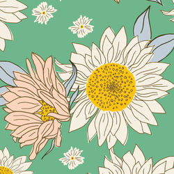Large Sunflowers in Teal