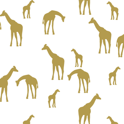 Giraffe Silhouette in Gold on White