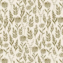 Perennials in Olive on Cream