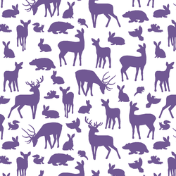 Forest Friends in Ultra Violet on White