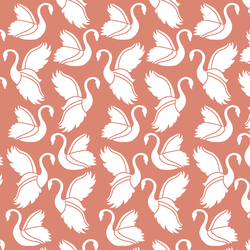 Swan Silhouette in Desert Rose