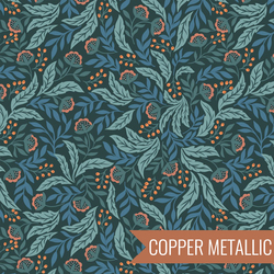 Arts and Crafts Floral in Dark Green Metallic