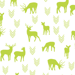 Deer Silhouette in Lime on White
